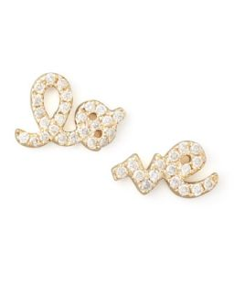 Yellow Gold Diamond Love Stud Earrings   Sydney Evan   Gold