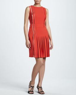 Womens Sleeveless Pleated Crepe Dress   J. Mendel   Poppy (10)