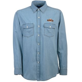 Antigua San Francisco Giants Mens Long Sleeve Chambray Shirt   Size Medium,