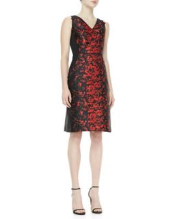 Womens Rose Jacquard Dress, Black/Red   Carolina Herrera   Black/Red (8)