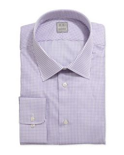 Mens Long Sleeve Check Dress Shirt, Purple   Ike Behar   Purple (18 1/2L)