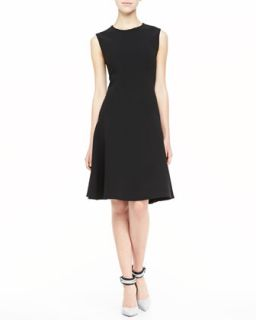 Womens Sleeveless Drop Waist A Line Dress, Black   Lela Rose   Black (12)