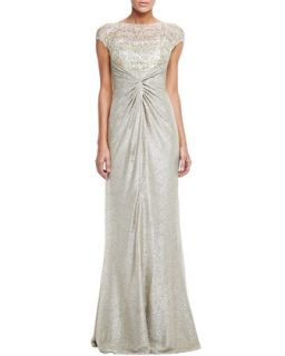 Womens Shimmery Lace Gown   David Meister   Gold (8)