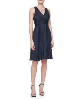 Womens Sleeveless Pleated Jersey Dress   Halston Heritage   Petrol (4)