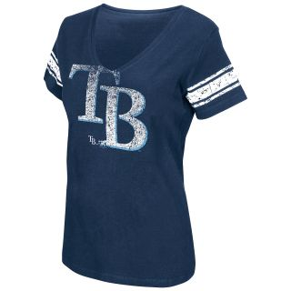 G III Womens Tampa Bay Rays Football Logo V Neck Short Sleeve T Shirt   Size