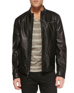 Mens Tumbled Leather Moto Jacket, Black   John Varvatos Star USA   Black