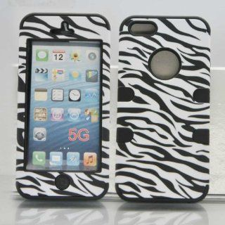QQIANG93 Zebra Skin New Fashion Hybrid Three Pieces Premium TUFF Combo Case For Apple iPhone 5 5S 5G 5th (black) Cell Phones & Accessories