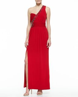 Womens One Shoulder Embellished Gown, Rose Red   Laundry by Shelli Segal