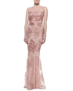 Womens Lace Overlay Mermaid Gown, Light Pink   David Meister   Light pink (10)
