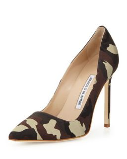 BB Satin 115mm Pump, Camo (Made to Order)   Manolo Blahnik   Camo (39.0B/9.0B)