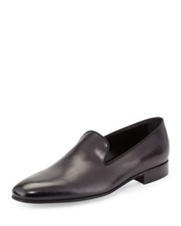 Mens Slip On Leather Loafer, Black   Ermenegildo Zegna   Black (8 1/2 EE)