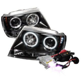 High Performance Xenon HID Jeep Grand Cherokee ( Non Laredo Limited Sport Version ) CCFL LED ( Replaceable LEDs ) Projector Headlights with Premium Ballast   Black with 10000K Deep Blue HID Automotive