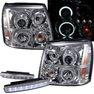 2004 Cadillac Escalade Ccfl Halo Projector Headlights Hid Version + 8 Led Fog Bumper Light Automotive