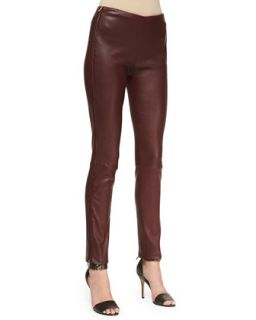Womens Oxblood Leather Pants with Side Zip   Adam Lippes   Oxblood (0)