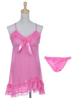 Anna Kaci S/M Fit Barbie Bubblegum Pink Spotted Heart Print Negligee Panty Set Lingerie Sets
