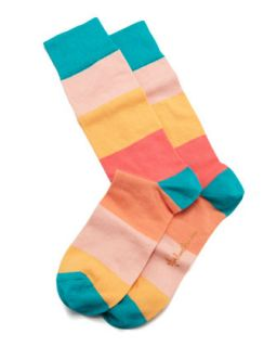 Colorblock Stripes Mens Socks, Peach   Arthur George by Robert Kardashian