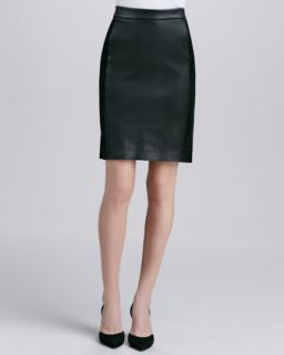 Womens Contrast Leather/Suede Skirt, Black   Vince   Black (10)