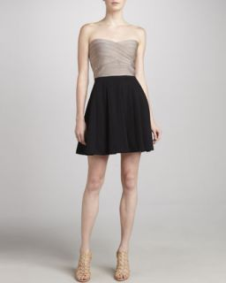 Womens Strapless Fit & Flare Dress   Erin Fetherston   Champ/Blk (LARGE)