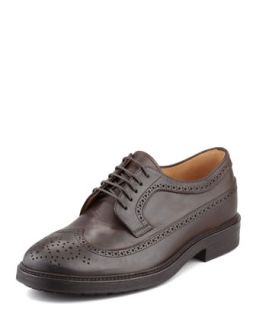 Mens Leather Long Wing Tip Derby, Brown   Brunello Cucinelli   Brown (42.5/9.