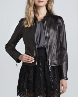 Womens Slim Leather Moto Jacket   Milly   Black (10)