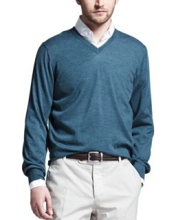 Mens Fine Gauge V Neck Sweater, Teal   Brunello Cucinelli   Teal (L/52)