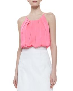 Womens Pleated Stretch Silk Tank   Milly   Fluo pink (4)