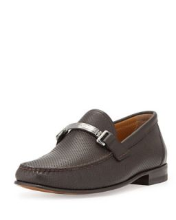 Mens Tecno Perforated Leather Loafer, Brown   Bally   Brown (10.5D)