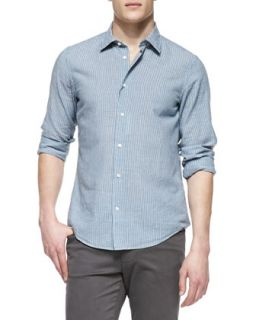 Mens Striped Linen Blend Shirt, Light Blue   Vince   Light blue (LARGE)