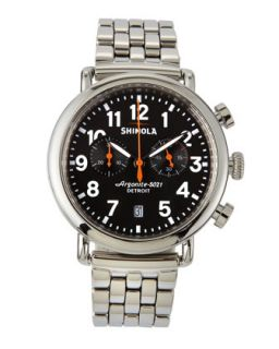 41mm Runwell Mens Chronograph Watch, Stainless Steel/Black Dial   Shinola