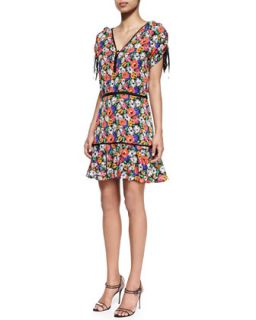 Womens Hothouse Floral Print Sleeveless Dress   Veronica Beard   Black multi