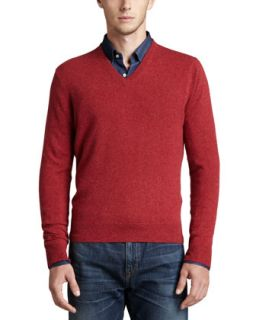 Mens V Neck Cashmere Pullover Sweater, Red   Firemelange (SMALL)