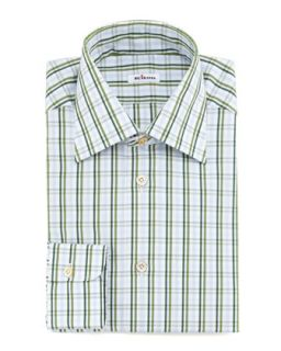 Mens Large Check Dress Shirt, Green   Kiton   Green (16 1/2)