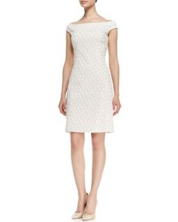 Womens Off Shoulder Reptile Print Sheath Dress, White   Kay Unger New York