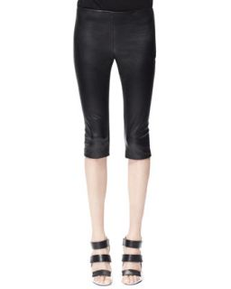 Womens Leather Zip Cuff Capri Leggings   Alexander McQueen   Multi colors