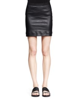 Womens Plonge Leather Pencil Skirt   Helmut Lang   Black (12)