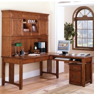 Mission Hills L Shaped Desk w/File Cabinet and Optional Hutch by Kathy Ireland   Desks