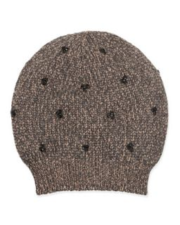 Sequin Cluster Knit Hat   Brunello Cucinelli   Wheat multi (L/8)