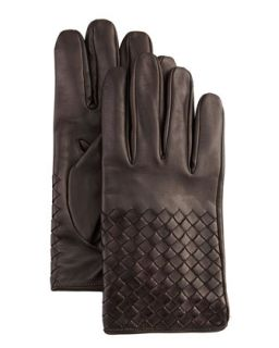 Mens Woven Leather Gloves, Dark Brown   Bottega Veneta   Brown (9/XL)