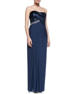 Womens Strapless Chiffon Gown with Crystals, Marine Blue   Notte by Marchesa