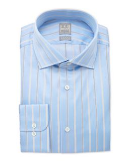 Mens Herringbone Striped Dress Shirt, Tan/Blue   Ike Behar   Tan (15 1/2R)