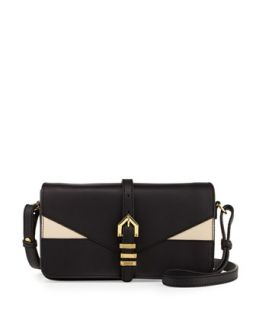 Hayden Colorblocked Leather Clutch Bag, Black/Nude   Linea Pelle