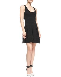 Womens Ottoman Pleated Stretch Dress   Milly   Black (PETITE)