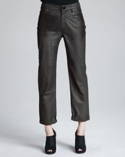 Womens Paulette Leather Pants, Smolder   J Brand Ready to Wear   Smolder (4)