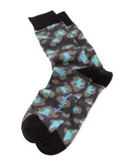 Leopard Print Mens Socks, Black   Arthur George by Robert Kardashian   Black