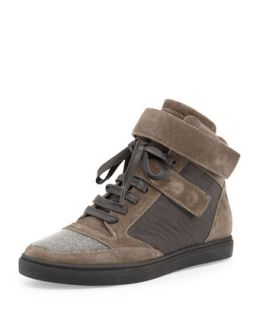 Grip Strap Suede Hi Top Sneaker, Grayish Brown   Brunello Cucinelli   Smoke (40.