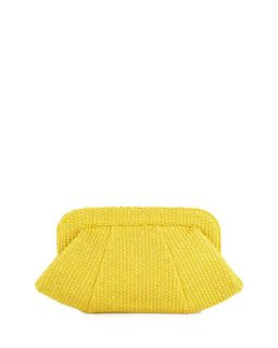 Tatum Raffia Snap Top Clutch, Yellow   Lauren Merkin