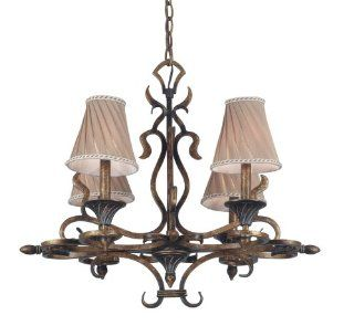 Kenroy Home 90504AGC Verona Four Light Chandelier, Aged Gold Copper with Cream Twist Pleated Shades