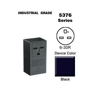 Leviton 5376 Surface Receptacle Commercial Grade 6 30R 30A 250V   Black   Electrical Outlets