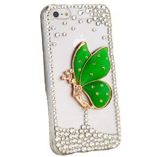 Green Fairy Clear Crystal Diamond Rhinestone Bling Case Cover Faceplate For Apple iPhone 5 5S w/ Free Pouch Cell Phones & Accessories