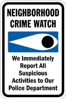 "SmartSign 3M Diamond Grade Reflective Aluminum Sign, Legend ""Neighborhood Crime Watch   We Report To Police"" with Graphic, 18"" high x 12"" wide, Black/Blue on White Industrial Warning Signs"